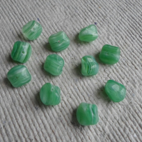 Pack of 20 x Czech Pressed Glass Nugget Beads in Green