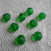 Pack of 20 Czech Pressed Glass Round Nugget beads in Green