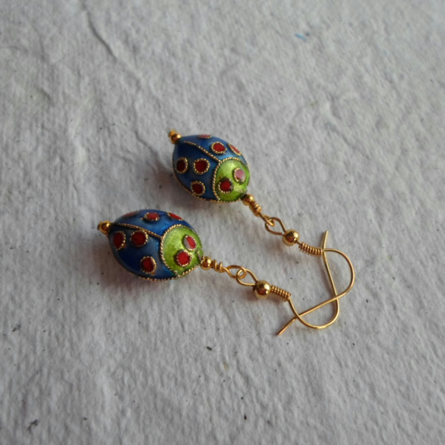 Pair Lady Bug Cloisonne' earrings in Royal
