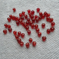 Pack of 50 little Abacus Beads in Red and Gold