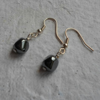 Pair of Haematite Earrings on Sliver Plated Wire