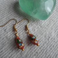 Tiny Drop Cloisonne Earrings in Russet