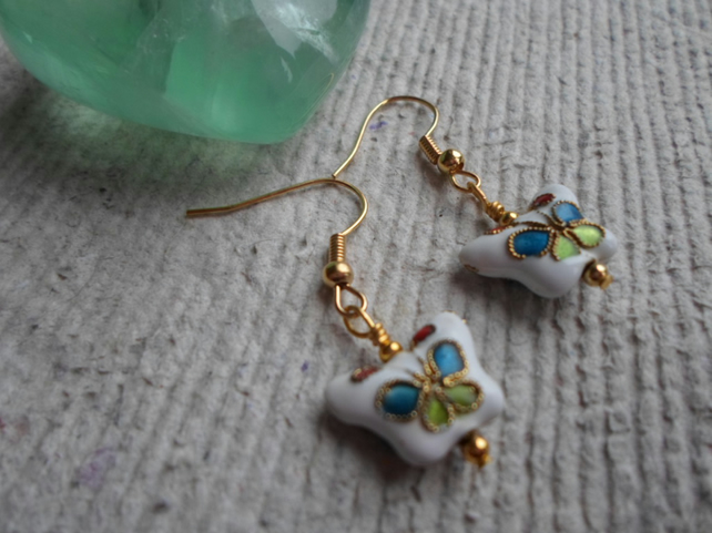 Butterfly Cloisonne Earrings in White