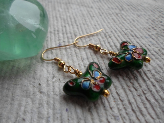 Cloisonne Butterfly Earrings in Green