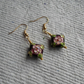 Handmade Square Pillow Cloisonne Earrings in Maroon