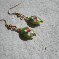 Tiny Lime Cloisonne Earrings