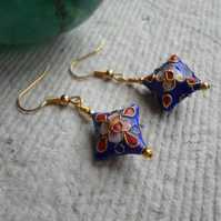 Handmade Pillow Shaped Cloisonne Earrings in Royal Blue