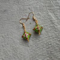 Pair Lime Green Cloisonne Earrings, Pillow Shaped
