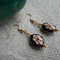 Handmade Oval Cloisonne Earrings in Maroon