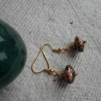 Abacus Shaped Maroon Cloisonne Earrings