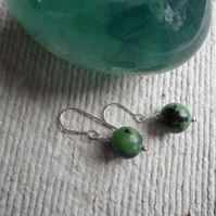 Pair of 10mm Ruby in Zoisite earrings