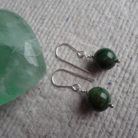 Pair African Jade Earrings on Sterling