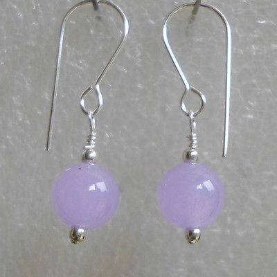 Pair sweet Lavender Jade earrings on Sterling