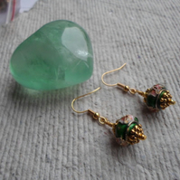 Handmade Cloisonne Earrings, Green abacus with Old Gold Bead Caps