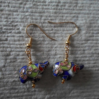 Earrings, Blue Ellie Cloisonne