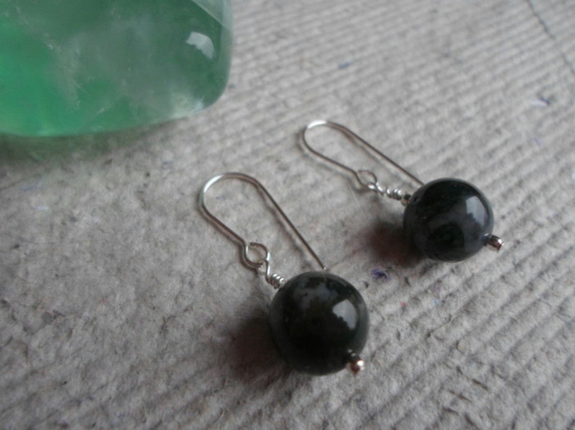 Pair Moss Agate Earrings on Sterling