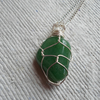 Wire Wrapped Green Aventurine Pendent