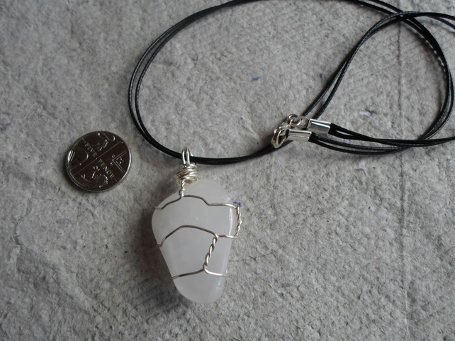 Wire Wrapped White Agate Tumble stone Necklace