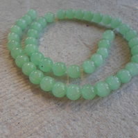 "12"" Strand Of 8mm Opaque Green Glass Beads"