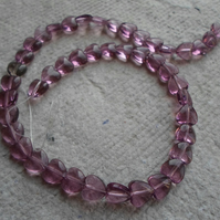 Strand Transparent Amethyst Coloured Heart Beads