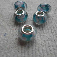 Pandora style Aqua Beads with Flower Pattern
