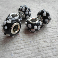 Pandora style Beads Black with White Dot Flower Pattern