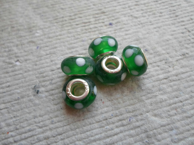 Pandora style Beads in Emerald Green with white Dots