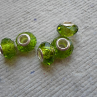 Pandora style Faceted Lime Green Beads