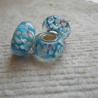 Pandora style Single Core Beads in Aqua