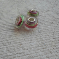Pandora style Beads in Rose and Green