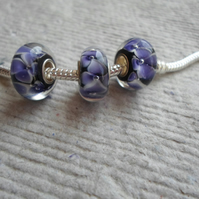 Pandora style Single Core Beads with Purple and White Flower Pattern
