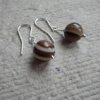 Pair of 10mm Banded Sardonyx Earrings