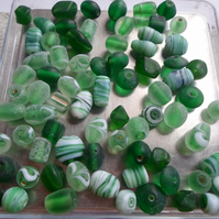 75 Grams of Glass beads in Green