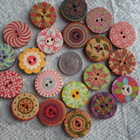 Round Wooden Buttons in various patterns
