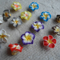Polymer Clay 15mm Flower Beads in Assorted Colours