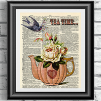 Art print on antique dictionary book page Tea Time artwork Wall decor poster