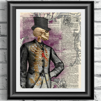 Dictionary book page art print victorian Gentleman. Antique old book sheet art.