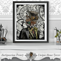 Fox Art Print on Antique Dictionary Book Page Steampunk Wall art