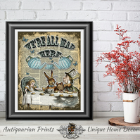 Art print Alice in Wonderland, Mad Tea Party, We're All Mad Here Wall Decor