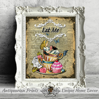 Alice in Wonderland Eat Me, Wall Decor, Shabby Chic