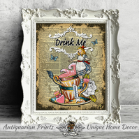 Alice in Wonderland Drink Me, Wall Decor, Shabby Chic