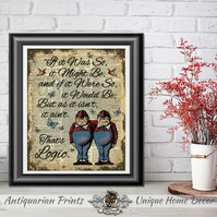 Alice in Wonderland Poster print, Twins Wall Decor, Inspirational quote