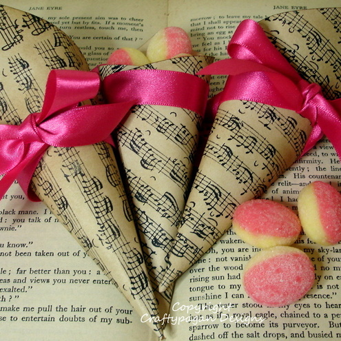 Luxury Handmade Vintage Style Favor Cones-Music Notes-SET of 10 Cones With Ribbon Colour of your choice-by Craftypagan Designs