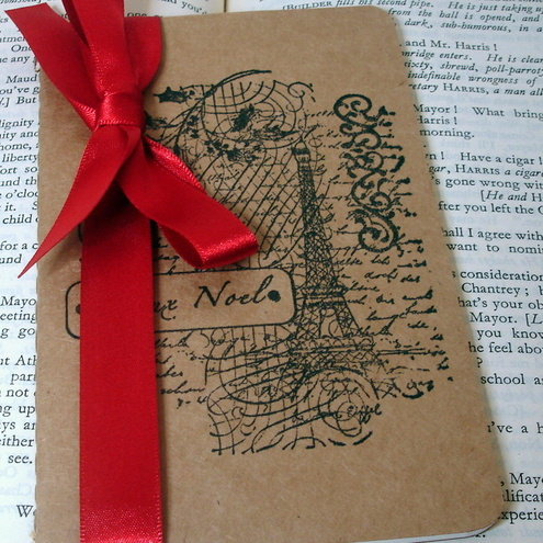 Joyeux Noel-Christmas in Paris-Handmade Vintage Style Altered Moleskine Kraft Cahier-Notebook/Journal/Pocketbook Perfect for Gifts and Favors
