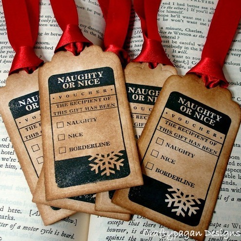Naughty or Nice-Handmade Christmas Vintage Style Gift Tags/Labels-SET of 6-Ribbon choice available