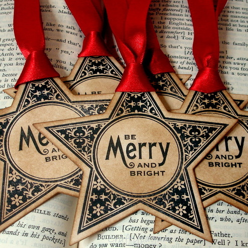 Merry and Bright Christmas Star Gift Tags-SET of 6-Vintage Style-Ribbon Choice