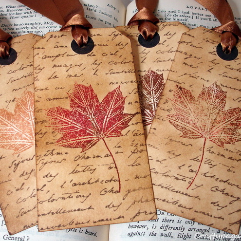 Autumn Leaves with Script-Handmade Vintage Style Hang Tags/Gift Tags-SET of 6