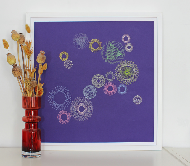 Geometric Thread Art - Many Circles and Roses on Purple