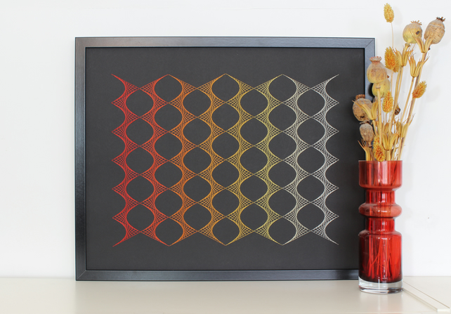 Geometric Thread Art - Yellow to Orange Zig Zag Repeat