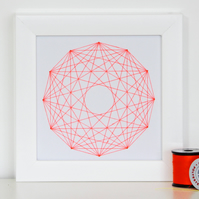 Geometric Thread Art - Mini Twelve Point Full Rose